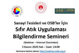 Sanayi Tesisleri ve OSB'ler İçin Sıfır Atık Uygulaması Bilgilendirme Semineri