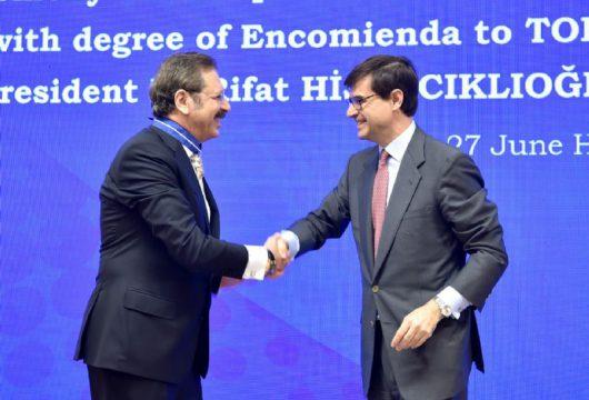TOBB Başkanı M. Rıfat Hisarcıklıoğlu'na İspanya Sivil Liyakat Nişanı Encomienda Payesi Verildi