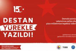 ERTSO Başkanı  Mahmut Özkoç'tan 15 Temmuz Demokrasi ve Milli Birlik Günü Mesajı…